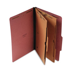 Universal Red Pressboard 6 Section Classification Folder with 2 Pocket Dividers, Legal, 10/BX