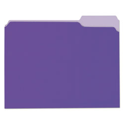 Universal File Folders, 1 Ply, Top Tab, 1/3 Cut, Letter, Violet/Light Violet, 100/Box