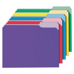 Universal File Folders, 1 Ply, Top Tab, 1/3 Cut, Letter, Assorted Colors, 100/Box
