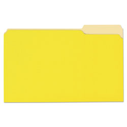 Universal File Folders, 1 Ply, Top Tab, 1/3 Cut, Legal, Yellow/Light Yellow, 100/Box