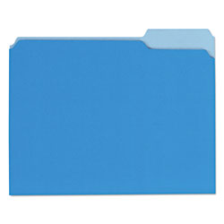 Universal Recycled Interior File Folders, Letter Size, 1/3 Cut, Blue, 100/Box