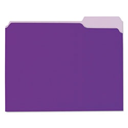 Universal Recycled Interior File Folders, Letter Size, 1/3 Cut, Violet, 100/Box