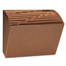 Universal Leather-Like Expanding File, Open Top, 12 x10, Jan.-Dec., Letter, 1/Each