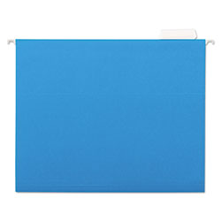 Universal Recycled Bright Color Hanging File Folders, Letter Size, 1/5 Cut, Blue, 25/Box