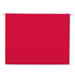 Universal Recycled Bright Color Hanging File Folders, , Letter Size, 1/5 Cut, Red, 25/Box