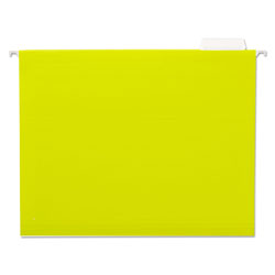 Universal Recycled Bright Color Hanging File Folders, Letter Size, 1/5 Cut, Yellow, 25/Box