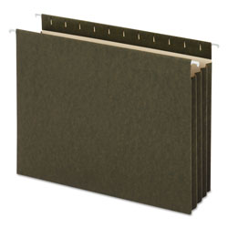 "Universal Hanging Box Bottom File Pockets, Letter, 3 1/2"" Cap., Standard Green, 10/Box"