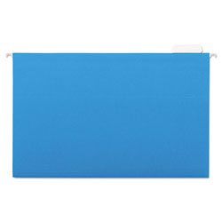 Universal Recycled Bright Color Hanging File Folders, Legal Size, 1/5 Cut, Blue, 25/Box