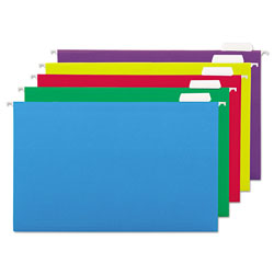 Universal Recycled Assorted Bright Color Hanging File Folders, Legal Size, 1/5 Cut, 25/Box