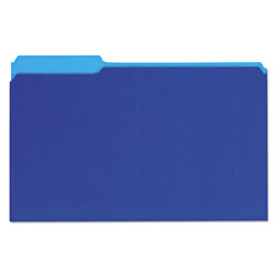 Universal Recycled Interior File Folders, Legal Size, 1/3 Cut, Blue, 100/Box