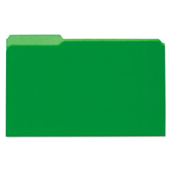 Universal Recycled Interior File Folders, Legal Size, 1/3 Cut, Green, 100/Box