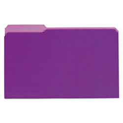 Universal Recycled Interior File Folders, Legal Size, 1/3 Cut, Violet, 100/Box