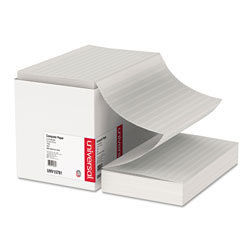 Universal Green Bar Computer Paper, 14 7/8x8 1/2, 1 Part, 18 lb., 2,800 sheets/Ctn