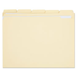 Universal Manila File Folders, 2 Ply Top Tabs, 1/5 Cut, Assorted, Letter Size, 100/Box
