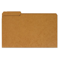 Universal Legal Size Brown Kraft File Folders, 2 Ply Top Tabs, 1/3 Cut, Assorted, 100/Box