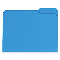 Universal Reinforced Top-Tab File Folders, 1/3-Cut Assorted, 2-Ply, Letter, Blue, 100/BX