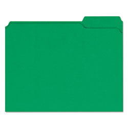 Universal File Folders, 2 Ply Top Tabs, 1/3 Cut, Assorted, Green, Letter Size, 100/Box