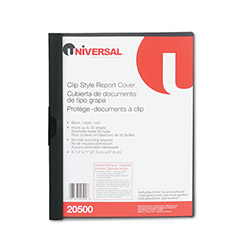 Universal Clip Style Report Cover, Black, Each