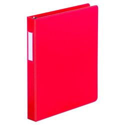 "Universal 49% Recycled D-Ring Binder, 1"" Capacity, Red"