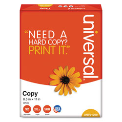 Universal Bulk Multipurpose Paper, 8 1/2 x 11 (Letter), 92 Bright, 20 lb, 500 Sheets Per Ream, Case of 10 Reams