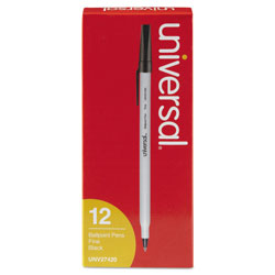 Universal Economy Ballpoint Pen, Fine Point, Black Ink, Dozen
