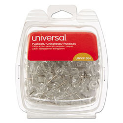 "Universal Clear Push Pins, Plastic, 3/8"", 100/Pack"