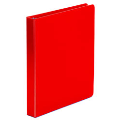 "Universal 49% Recycled Suede Round Ring Binder, 1"" Capacity, Red"