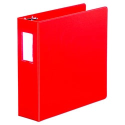 "Universal 48% Recycled Suede Round Ring Binder, 3"" Capacity, Red"