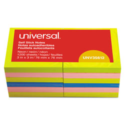 Universal Self Stick Fan Folded Neon Note Pads, 3x3, 12 100 Sheet Pads/Pack