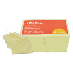 Universal Standard Self Stick Regular 3x3 Notes, Yellow, 18 100 Sheet Pads/Pack