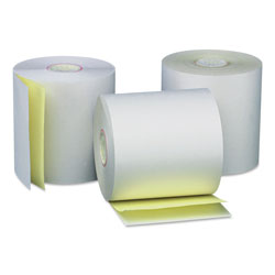 "Universal Carbonless Paper Rolls, White/Canary, 3"" x 90 ft, 50/Carton"