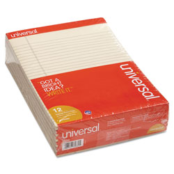 Universal fashion color perforated top ivory writing pads, 8 1/2x11, wide rule, 50/pad, dozen