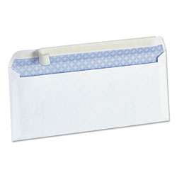 Universal Pull & Seal Business Envelope, Security Tint, #10, White, 100/Box