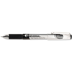 Universal High Capacity Medium Point Gel Ink Pen, Silver Barrel, 0.5 mm Line Size, Black