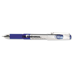 Universal High Capacity Medium Point Gel Ink Pen, Silver Barrel, 0.5 mm Line Size, Blue