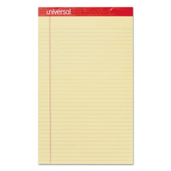 Universal Perforated Edge 8 1/2 x 14 Writing Pads, Canary, Wide Rule, 50/Pad, Dozen