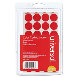 "Universal Permanent Round Self Adhesive Labels, 3/4"" Dia., Red, 1008/Pack"