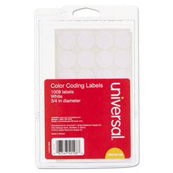 "Universal Self Adhesive Permanent 3/4"" Dia. Round Labels, 1000/Pack, White"