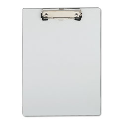 "Universal Silver Plastic Clipboard, 1/2"" Capacity, Holds 8-1/2w x 11h, Silver"