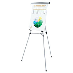 "Universal 3-Leg Telescoping Easel with Pad Retainer, Adjusts 34"" to 64"", Aluminum, Silver"
