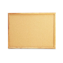 Universal Cork Bulletin Board, 24 x 18, Natural, Oak-Finished Frame