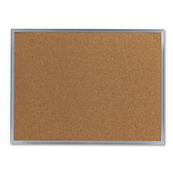 Universal Bulletin Board, Natural Cork, 24 x 18, Satin-Finished Aluminum Frame