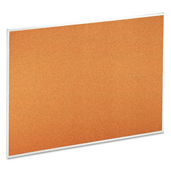 Universal Bulletin Board, Natural Cork, 48 x 36, Satin-Finished Aluminum Frame