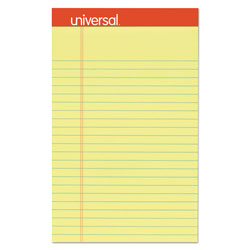 Universal Perforated Edge Writing Pad, Jr. Legal Rule, 5 x 8, Canary, 50-Sheet, Dozen