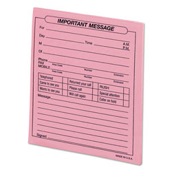 Universal Important Message Pad, Pink, 4 1/4x5 1/2 Form, 50 Sheets/Pad, Dozen