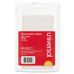 "Universal Self Adhesive Rectangular Removable Labels, 1"" x 3"", 250/Pack, White"