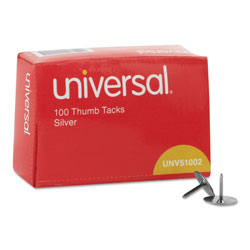 "Universal Nickel Plated Thumb Tacks, 5/16"" Point, 3/8"" Head, Pack of 100"