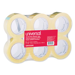 "Universal Box Sealing Tape, 1.88"" x 109 yds, 3"" Core, Clear, 6/Pack"