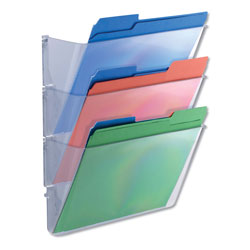 Universal Three Pocket Wall File Starter Set, Letter Size, Clear