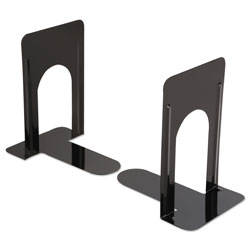 Universal Jumbo Deluxe Metal Bookends, Nonskid Padded Base, Black Enamel